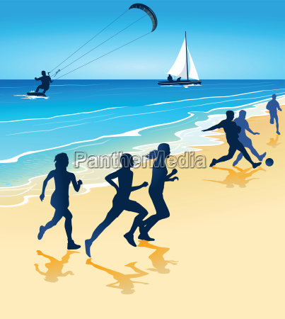 sport und spiel am strand