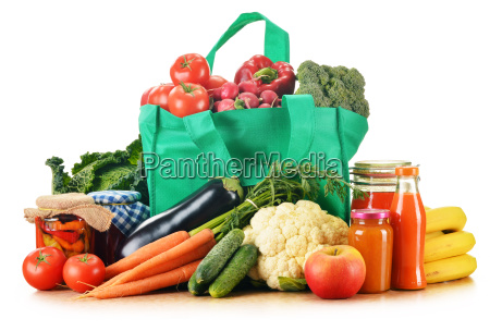 green shopping bag with assorted grocery
