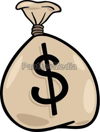 sack of dollars clip art cartoon