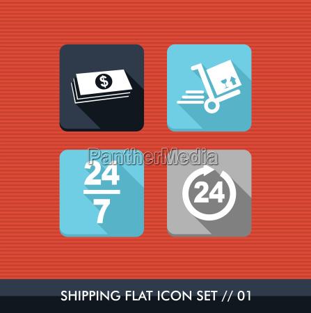 shipping flat icons set