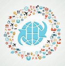 colorful global concept shipping web icons