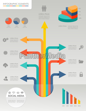 colorful infographic diagram social media icons