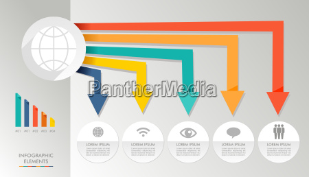 colorful infographic diagram global media icons