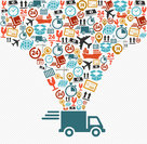 shipping icons set fast delivery truck