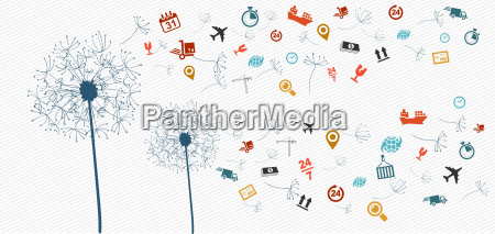 shipping logistics icons abstract dandelion illustration