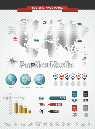 shipping logistic infographic world map icons
