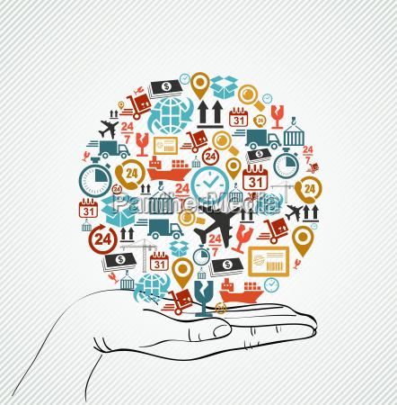 menschliche, hand, global, bunte, versand, icons - 9829860