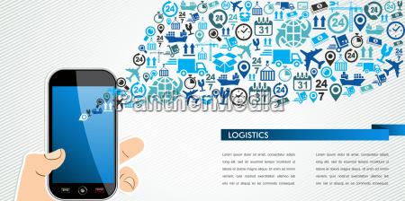 versandlogistik, mobil, menschliche, hand, icons, spritzen. - 9829892