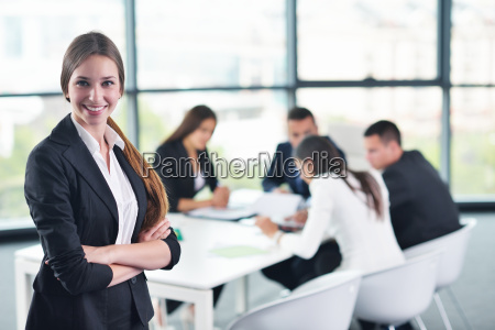 business woman with her staff in