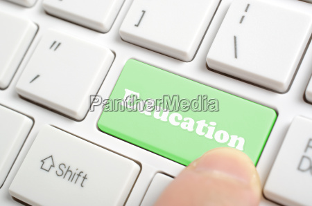 pressing education key on keyboard