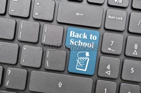 back to school on keyboard