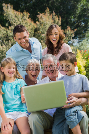 happy multi generation family with a