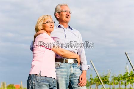 glueckliche senioren sitzen in weinberg