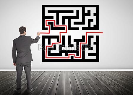 unternehmerdie eine rote linie durch qr