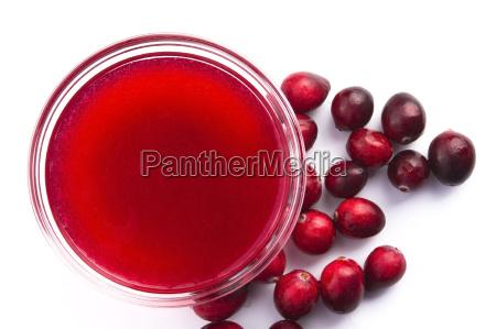gelee mit cranberries im glas