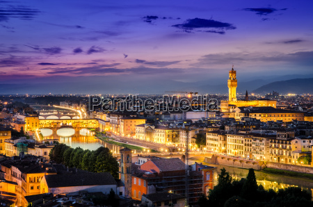 scenic night view of florence with