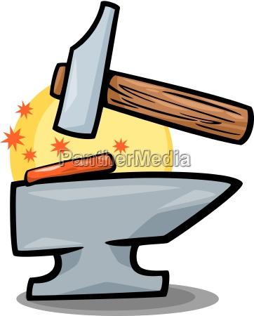 hammer, und, amboss, clip, art, karikatur - 10085746