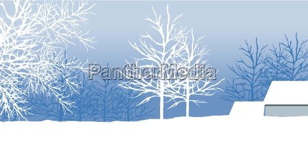 snowy winter landscape with tree