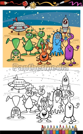 cartoon ufo aliens group coloring page