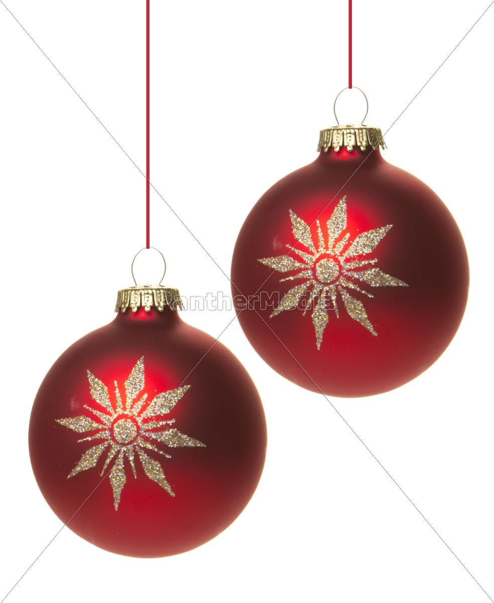 Rote christbaumkugeln mit wei em stern isoliert lizenzfreies bild 10168475 bildagentur - Bilder weihnachtskugeln ...