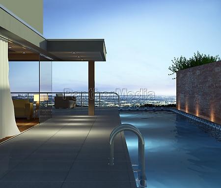 moderne ferienwohnung mit pool und einer