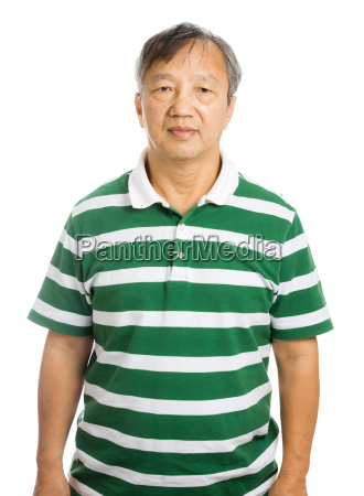 asian alter mann isoliert auf weiss