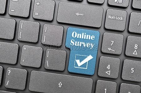 online survey key on keyboard
