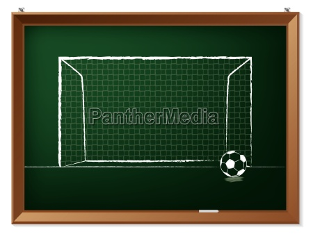 soccer ball with gate on chalkboard