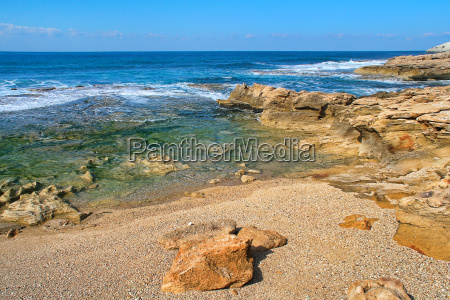 waves and rocks at rosh hanikra