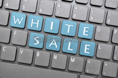 white sale on keyboard