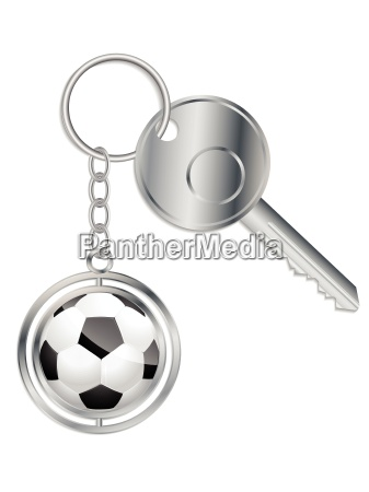 metallic key with soccer ball keyholder