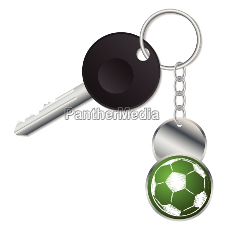 black key with metallic soccer ball