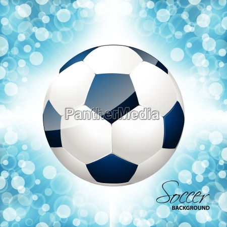 soccer ball poster with blue background