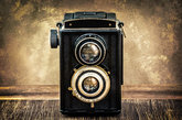old fashioned antique camera in vintage