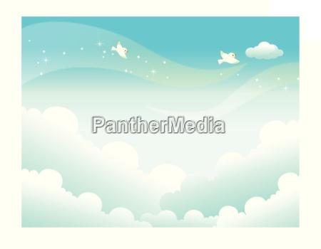 vogel freiheit ungebundenheit horizontal illustration outdoor
