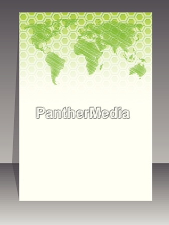 simplistic brochure design with green pattern