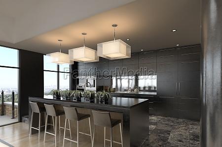 modernes penthouse mit kueche