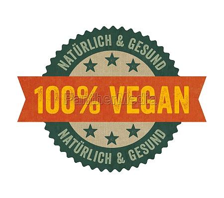 label mit der aufschrift vegan