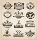 vintage retro bakery label set