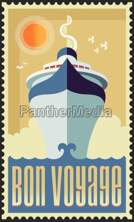 vintage retro cruise ship vector