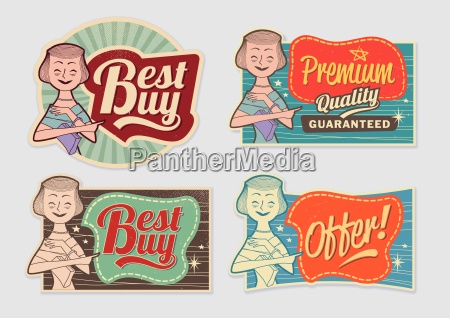retro vintage advertising labels