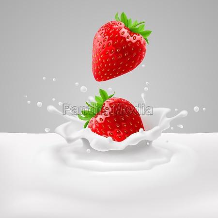 erdbeeren mit milch
