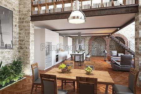 moderne loft mit kuecheess und wohnzimmer