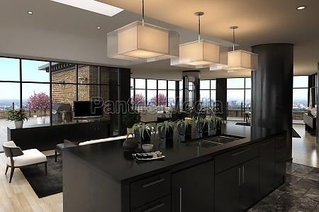 modernes penthouse mit kueche und wohnzimmer