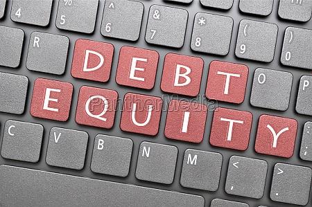debt equity on keyboard