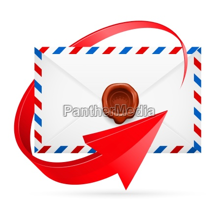 envelope with stamp and arrow around