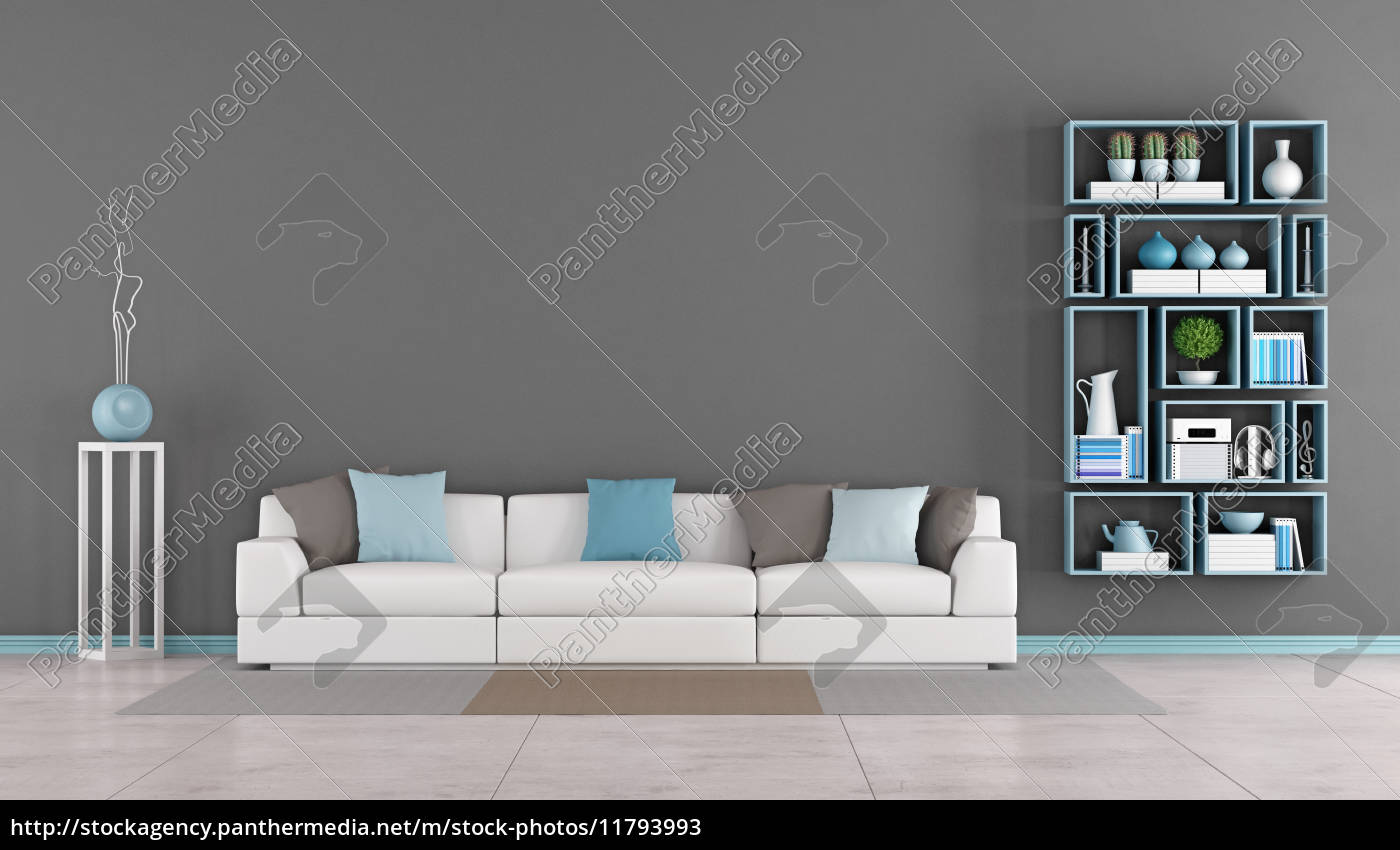 moderne wohnzimmer mit sofa und b cherregal stockfoto. Black Bedroom Furniture Sets. Home Design Ideas