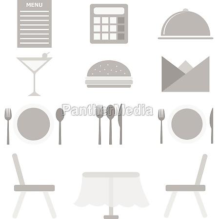 restaurant icons on white background