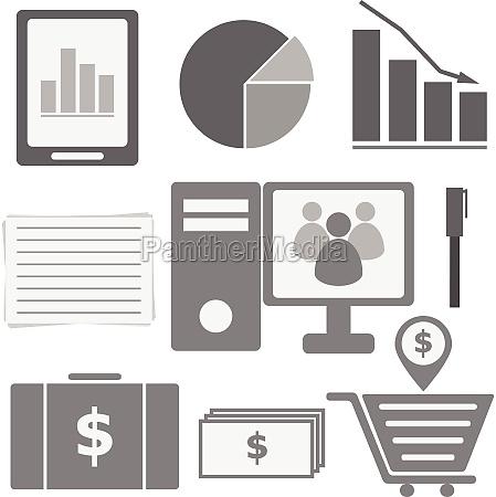set of internet investor at home