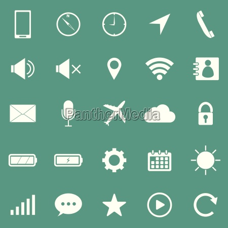 mobile phone icons on green background